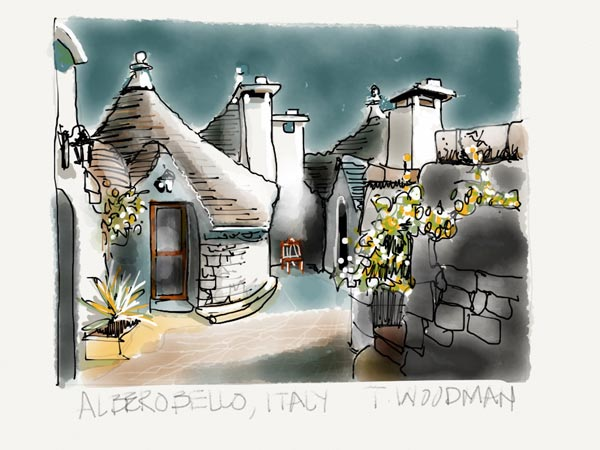 iPad Sketches Drawings Art Architect Thomas Woodman Alberobello Southern Italy conical stone roofs Architecture