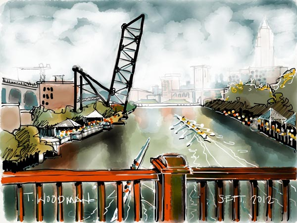 iPad Sketches Drawings Art Architect Thomas Woodman Center Road Bridge Head of Cuyahoga River Cleveland Ohio Rowing