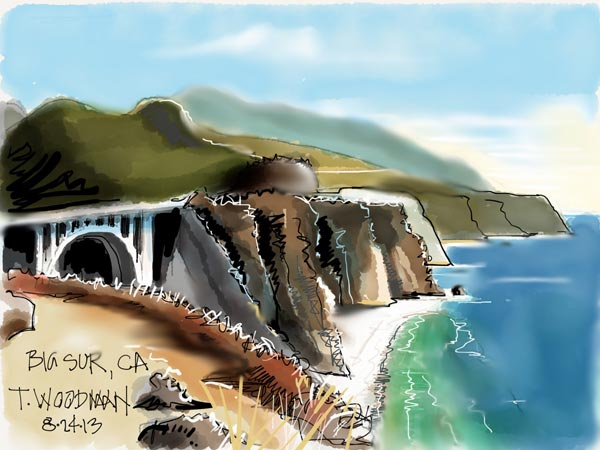 iPad Sketches Drawings Art Architect Thomas Woodman Big Sur California Bixby Creek Bridge