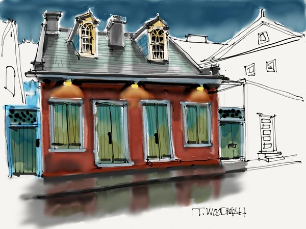 iPad Sketches Drawings Art Architect Thomas Woodman Creole Cottage French Quarter New Orleans