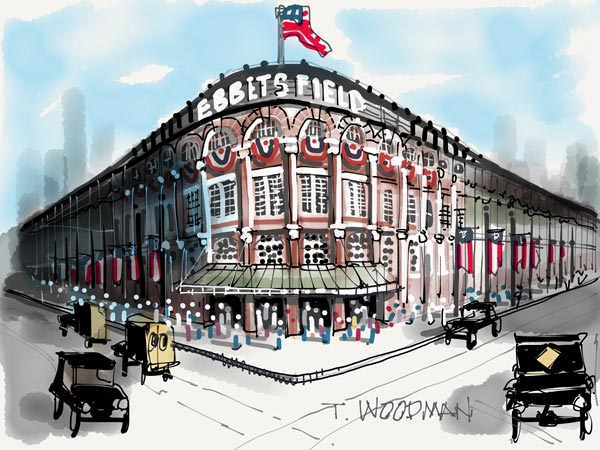 iPad Sketches Drawings Art Architect Thomas Woodman Ebbets Field Brooklyn Dodgers Los Angeles Classic Ballpark Jewel Box Charles Ebbets Major League Baseball