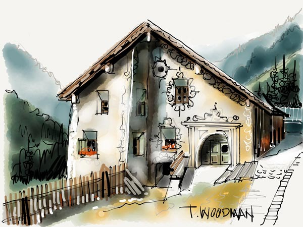iPad Sketches Drawings Art Architect Thomas Woodman Guarda Switzerland Lower Engadin Valley Canton Graubunden River Inn rural Architecture