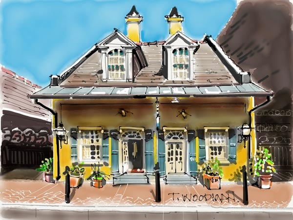 iPad Sketches Drawings Art Architect Thomas Woodman Hotel St. Pierre New Orleans Creole cottage French Quarter