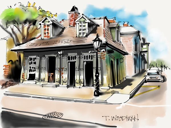 iPad Sketches Drawings Art Architect Thomas Woodman New Orleans Cottage Creole cottage French Quarter