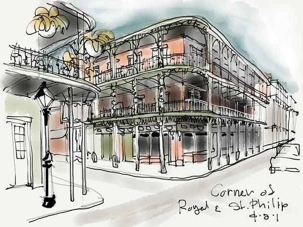 iPad Sketches Drawings Art Architect Thomas Woodman New Orleans Louisiana St. Philip Street French Quarter Iron Balconies Architecture