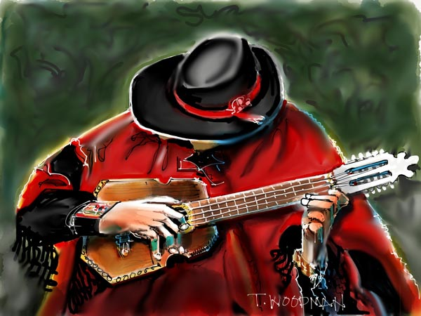 iPad Sketches Drawings Art Architect Thomas Woodman Ronroco Player Gaucho South American musician instrument