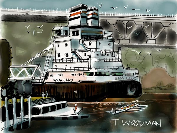iPad Sketches Drawings Art Architect Thomas Woodman Head of Cuyahoga River Cleveland Ohio Rowing