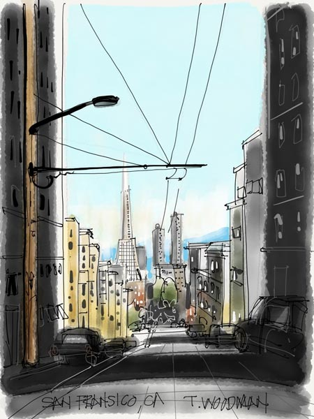 iPad Sketches Drawings Art Architect Thomas Woodman Transamerica Pyramid San Fransisco California Berkley