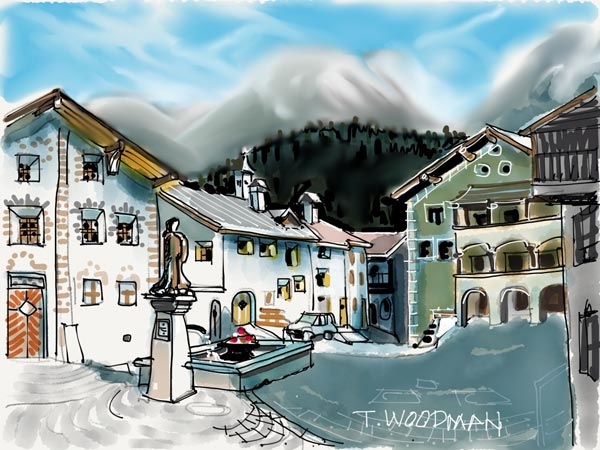iPad Sketches Drawings Art Architect Thomas Woodman Scuol Switzerland Lower Engadin Valley Canton Graubunden River Inn Rural Architecture