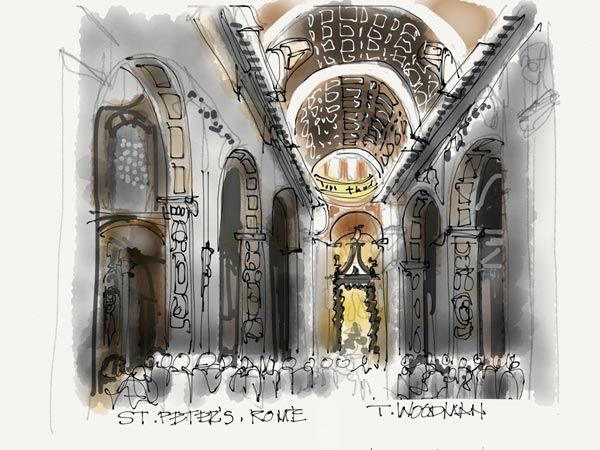 iPad Sketches Drawings Art Architect Thomas Woodman St. Peters Rome
