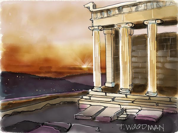 iPad Sketches Drawings Art Architect Thomas Woodman Temple Athena Nike Acropolis Athens Greece Ionic Order Greek temple Architecture