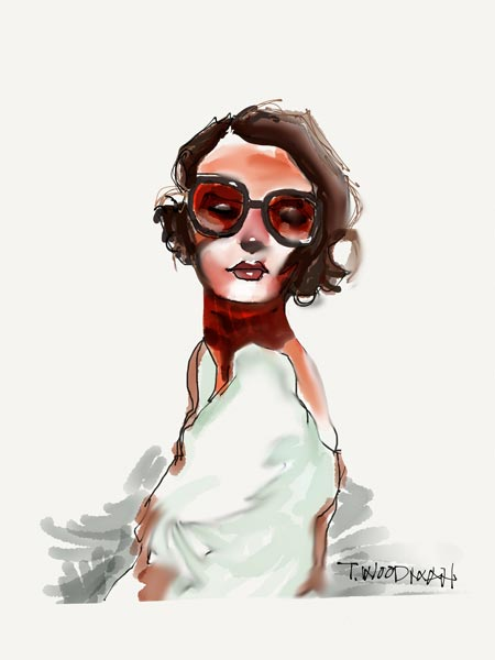 iPad Sketches Drawings Art Architect Thomas Woodman Woman Red Glasses