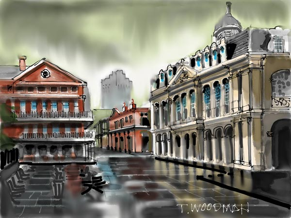 iPad Sketches Drawings Art Architect Thomas Woodman Cabildo Jackson Square New Orleans