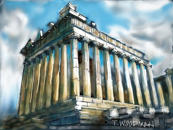 Greece iPad Sketches Drawings Artist Thomas Woodman